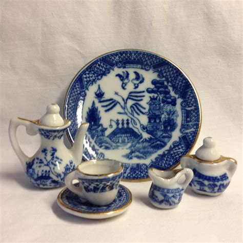dolls house tea set blue willow miniature doll house tea set
