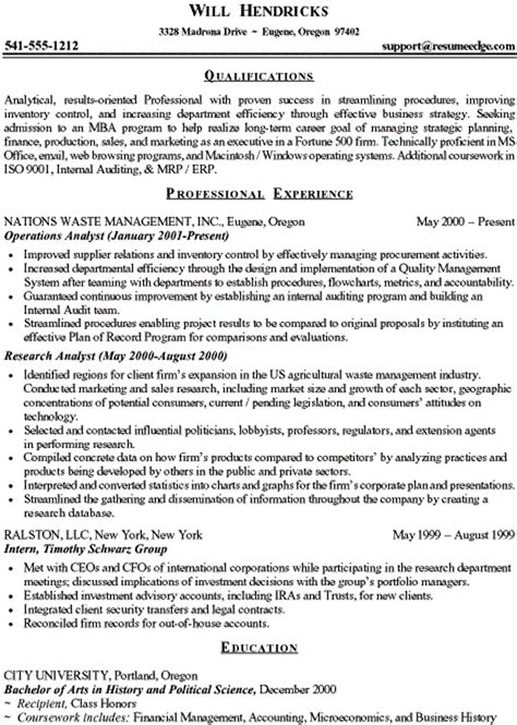5 mba resume sle assistant cover letter