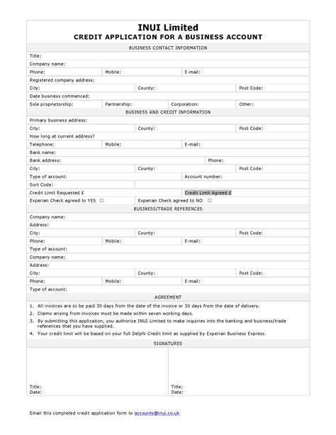 business account application form template business credit application form inui
