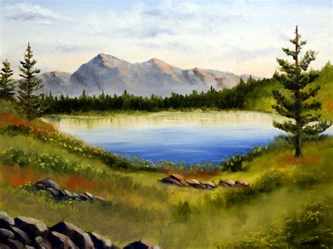 mountain lake landscape painting by webster