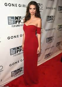 Sizzles in slinky off the shoulder crimson gown at gone girl premiere