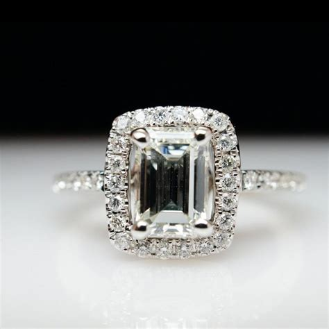 1 05 ct emerald cut halo engagement ring wedding