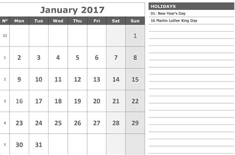 printable calendar with notes printable 2017 calendar printable for free download