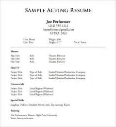 Free Acting Resume Template acting resume template health symptoms and cure