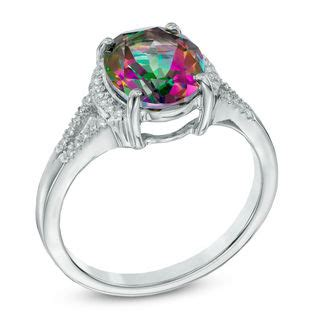 oval mystic 174 topaz and lab created white sapphire