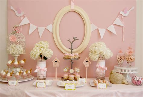 baby shower table real party little pink birdies frog prince paperie