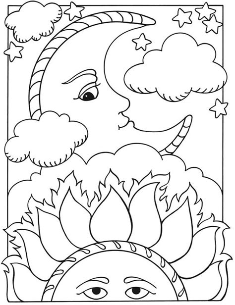 coloring pages of the moon and stars welcome to dover publications let s color together sun