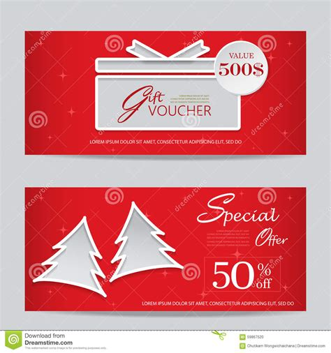 xmas gift voucher stock vector illustration  gift