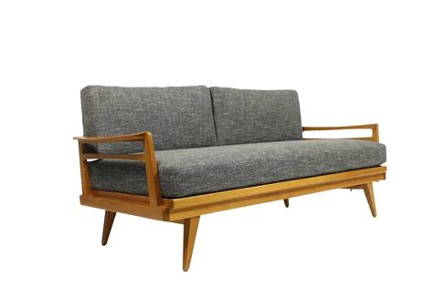 mid century modern sofa knoll antimott beech wood daybed