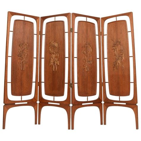 Expandable Room Divider Sculptural Four Panel Folding Teak Screen Room Divider For Sale At 1stdibs