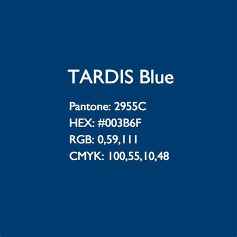 tardis 10th blue colour codes approved by pantone