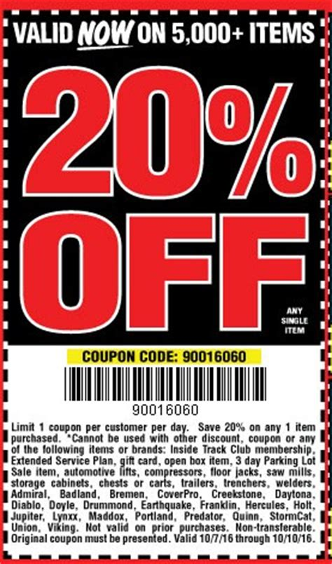 harbor freight coupons 20 off printable hot deal harbor freight 20 off coupon code tool rank com