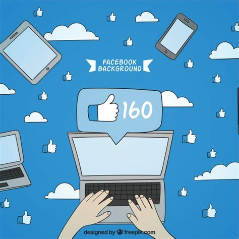 facebook layout vector free download facebook background with hand drawn laptop vector free