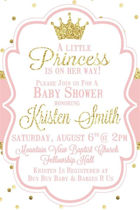 little princess baby shower invitation pink by