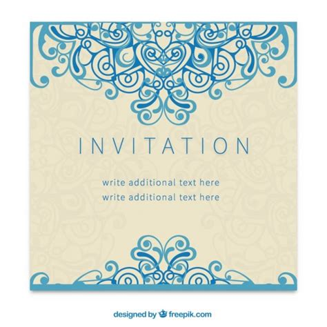 Retro Invitation In Ornamental Style Vector Free Download