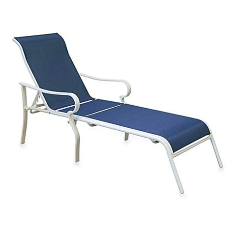 Blue Chaise Lounge Hawthorne Oversized Adjustable Sling Chaise Lounge In Blue Bed Bath Beyond