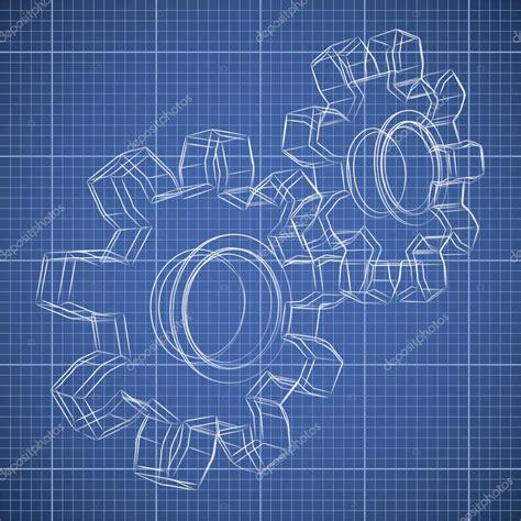 3d blueprint 3d gear wheel sketch drawing on blueprint background stock vector 169 tuulijumala 30825105