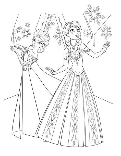 Sketsa Gambar Mewarnai Frozen Elsa dan Anna Terbaru