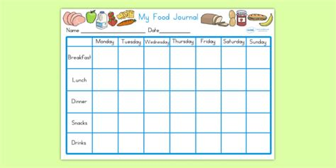 Editable Healthy Eating My Food Journal My Food Journal Template