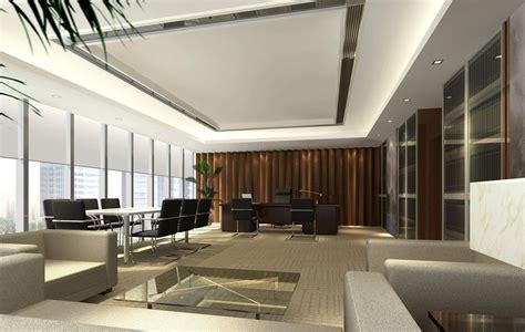 design management office general manager office interior design rendering with