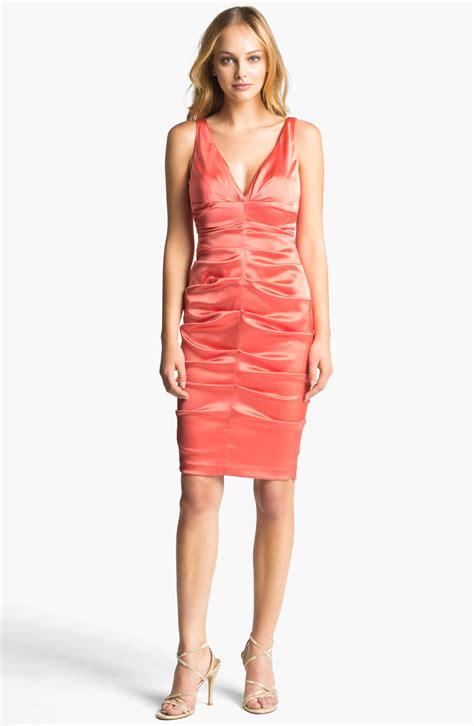 Dress Stretch xscape ruched stretch satin sheath dress in coral lyst