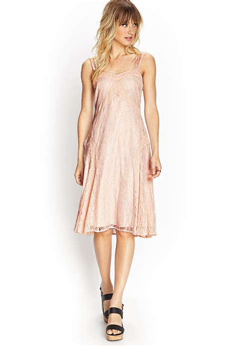 forever 21 lace chiffon sweetheart dress in pink lyst
