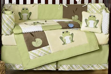Discount Cheap Unisex Yellow Green Frog Froggy 9p Baby Boy Frog Baby Bedding Crib Sets