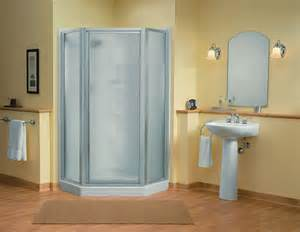 intrigue neo angle shower unit with sacramento pedestal