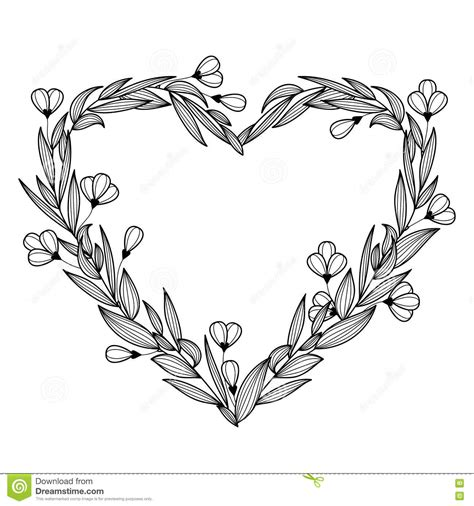 Hand Drawn Vintage Floral Wreath In The Shape Of Heart