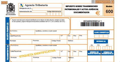 impuesto sobre transmisiones patrimoniales y actos modelo 600 impuesto sobre transmisiones patrimoniales y
