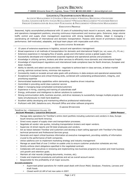 logistics manager resume sle logistic manager resume sle 28 images 8 logistic