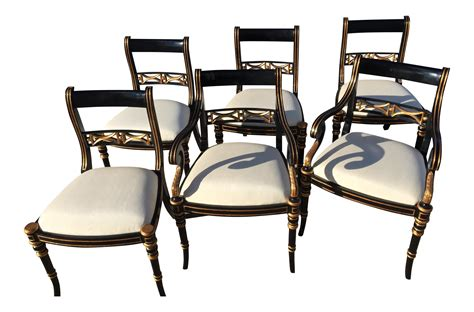 Black Dining Chairs Set Of 6 Black Regency Dining Chairs Set Of 6 Chairish