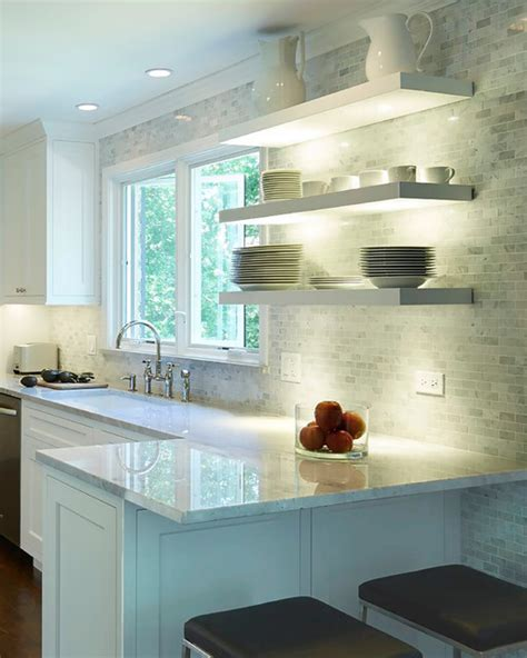 floating shelves with undermount lighting modern