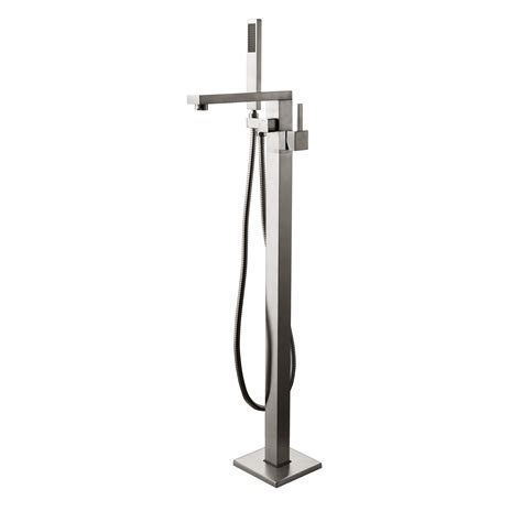 floor mount bathtub faucet dree modern floor mounted freestanding tub faucet brushed nickel faucets