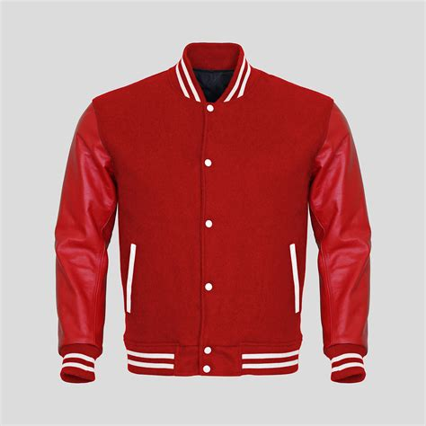 jacket design red leather sleeves red wool varsity jacket clothoo