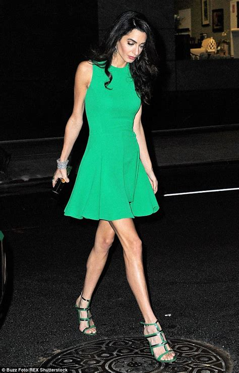 Branded Green Dress For And Size 7y Until 14y amal clooney can t escape the curse of bunions out with husband george daily mail