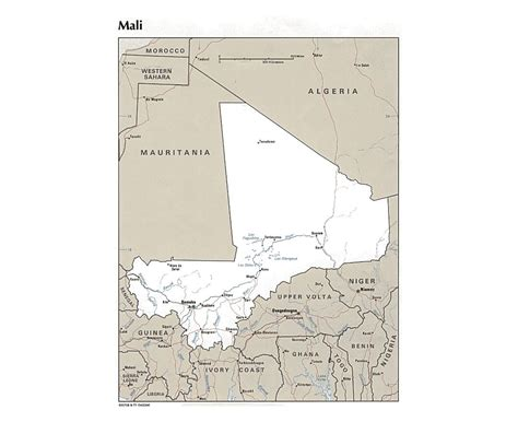 political map of mali maps of mali detailed map of mali in tourist