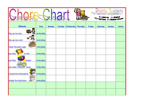 Chore Sheet Template by Sle Chart Templates 187 Chore Chart Template For