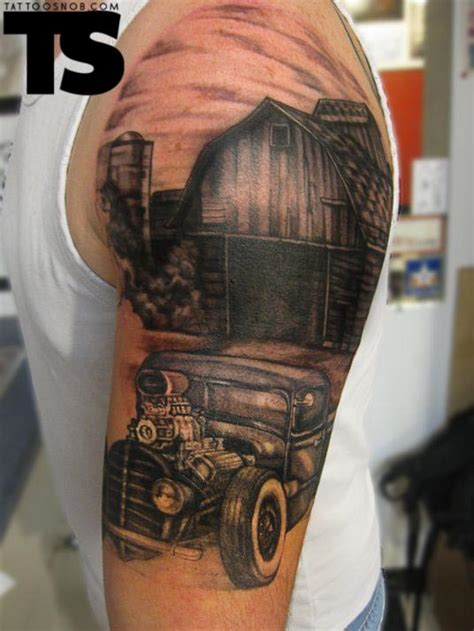 car sleeve tattoo designs grey ink left half sleeve car for tattooshunt