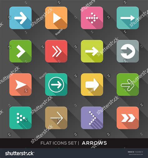 design app buttons set arrow sign flat icons long stock vector 153240614
