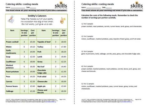 Functional Math Worksheets by Functional Maths For Catering Skills Workshop