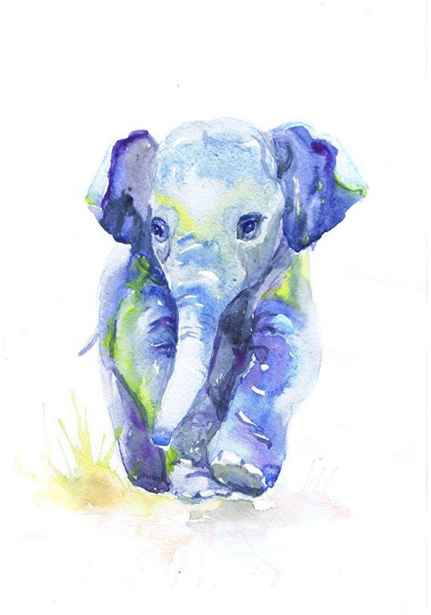 painting for barbies baby elephant watercolor painting from valrart on etsy