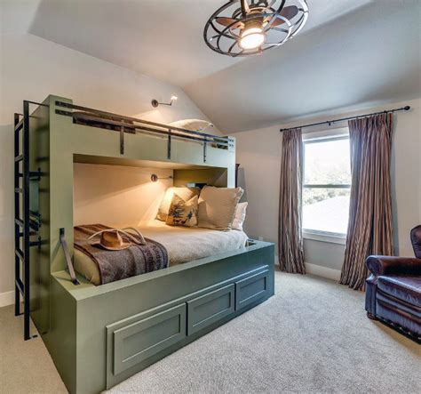 Lovely Game Room Ideas For Adults #4: Olive-green-simple-bunk-bed-ideas-with-bottom-storage.jpg