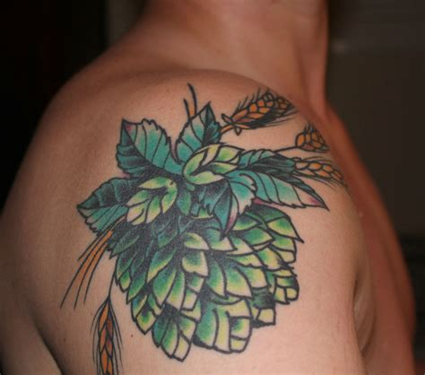ann arbor tattoo traditional hops and barley by tomek szumiec at name brand