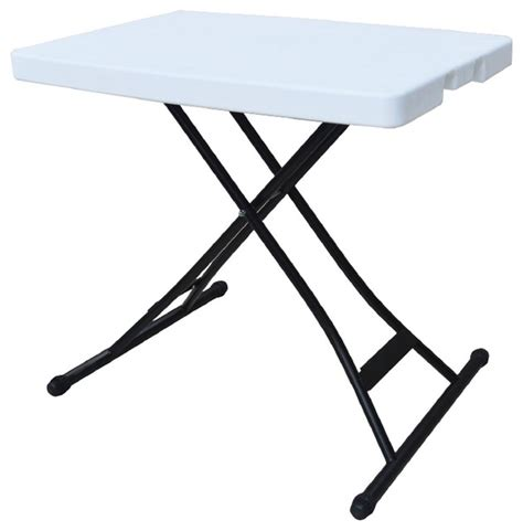 Adjustable Height Outdoor Dining Table Ares Adjustable Height 25 98 Quot X 18 11 Quot Personal Folding Table White Modern Outdoor Dining