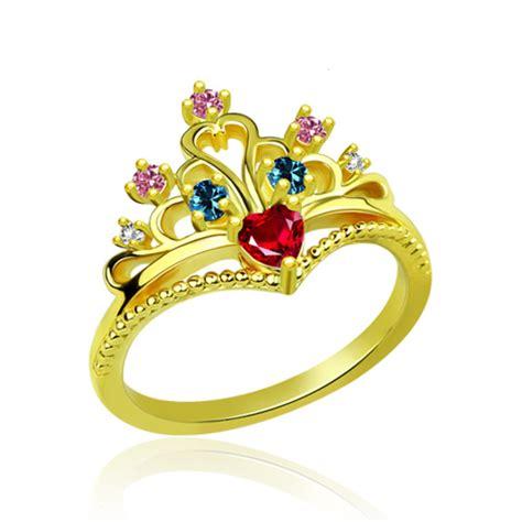 cincin multi ring crown multi princess crown ring gold plated