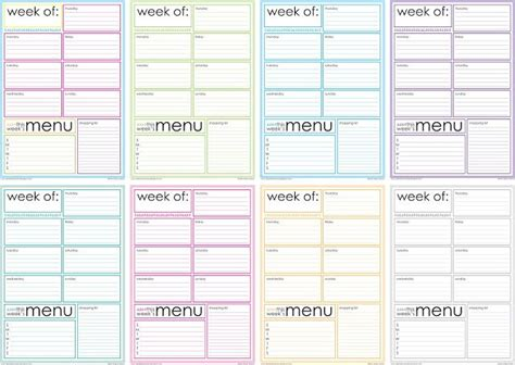 organized home printable menu planner free printable weekly menu planner let s get organized