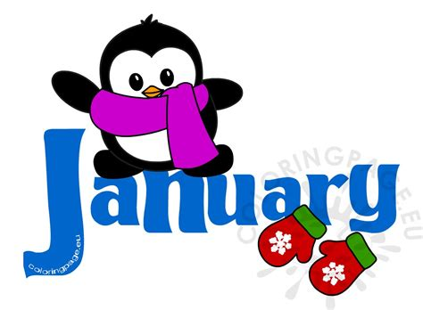 january clipart january month penguin clip coloring page