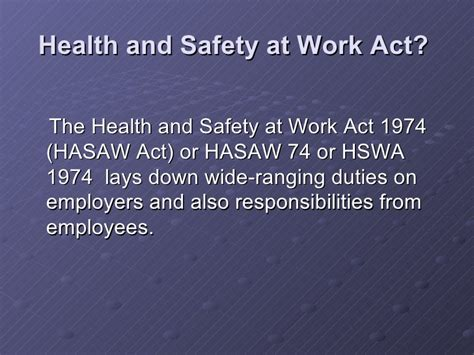 health and safety act section 2 work based learning health and safety act 1974