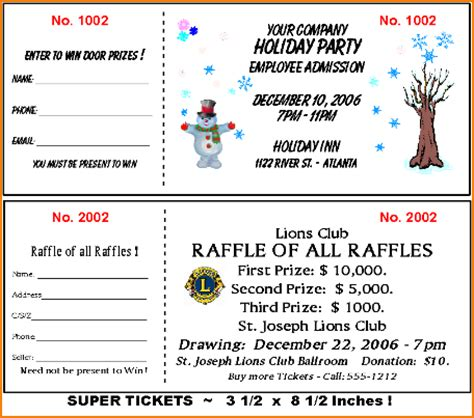 benefit ticket template 6 sle raffle tickets teknoswitch